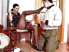 Black nylon pantyhose feet fetish