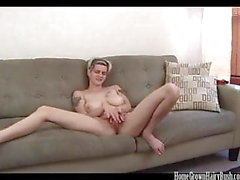 Busty blonde amateur masturbates and toys her hairy pussy