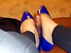 Pantyhose and Flats BBC Footjob Shoejob 2