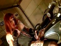 tattoo redhead biker-chick shemale tranny