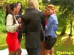 Pissing glamour dykes loving goldenshowers outdoors