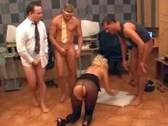 euro blonde office gangbang