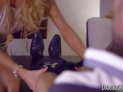 Classy euro rubs her box