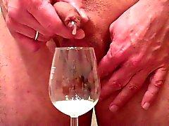 me jerking big load trough foreskin, cum in wine glass