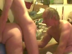 Mature bi couple has a friend over for MMF fun