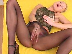 blonde masturbation nylon solo