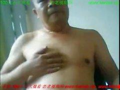 китайский папа веб-камера камера соло мужской азиатский зачистки wanking мастурбирует подергивание с поглаживанием любительские домашние пухлые кончил папа