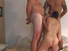 3some cumshot tag-team orgy amateur
