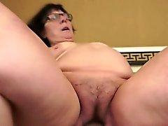 bbw blowjob brunette european granny
