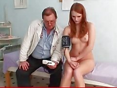 Redhead beauty Denisa Heaven abused by dirty doctor