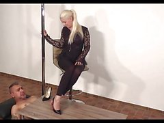 femdom foot fetish footjob high heels black footjob