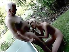 blonde blowjob close-up old young outdoor