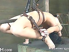 Tied up beauty waits with fear for her next torment