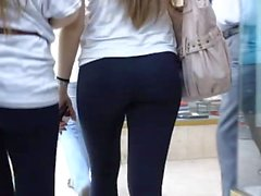 Hot cute blonde girl in see thru leggings