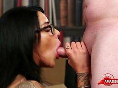 Big tits pornstar blowjob with facial