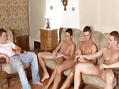 gay orgy foursome blowjob