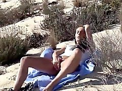 babe beach brunette masturbation outdoor