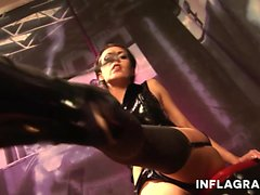 brunette fingering german latex