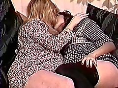 Cute blonde and brunette pregnant babes make out and play with each other
