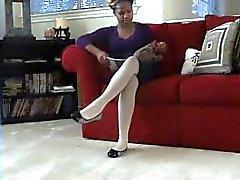 black point-of-view kink pantyhose ebony