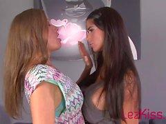 big tits lesbian brunette kissing