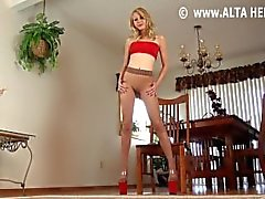 pantyhose joi heels blonde