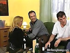 blonde european gangbang group sex mature