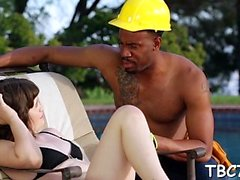 Teenie gets her sexual crave satisfied by big dark pecker