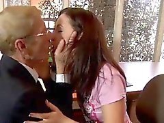 blowjob brunette old young