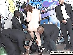 Filthy redhead Violet Monroe taking multiple black dongs