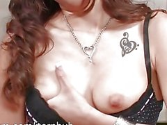 Arial Rose gets down on the floor and fingers herself