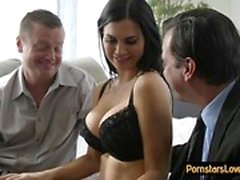 babe big boobs blowjob brunette cuckold