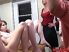 Hazing sorority babe gets straponfucked