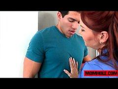 blowjob milf redhead teen threesome
