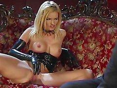 blonde latex gloves piercing