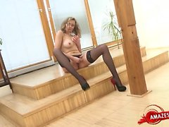 blonde masturbation solo stockings toys