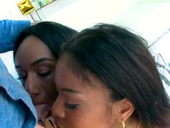 Nia and Ashley deepthroat a white cock