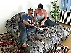 bbw big tits blowjob brunette chubby