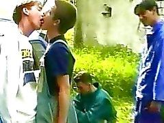 gay kissing outdoors