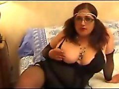 Hairy french BBW toying pussy and ass