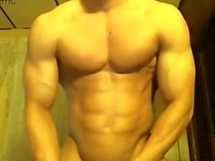 Hot Bodybuilder Stroking His Big Dick
