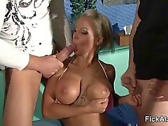 big boobs blonde blowjob outdoor threesome