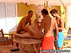 Guys Dominated One Twink Outdoor Gangbang