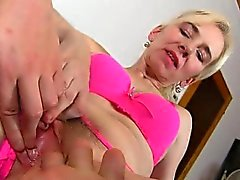 Horny boy is stretching hairy cunt of amateur mom Maya