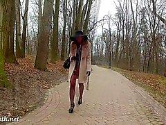 brunette public stockings big ass high heels
