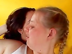 busty lesbo kissing teasing fingering