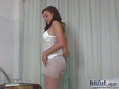 pantyhose lingerie solo brunette