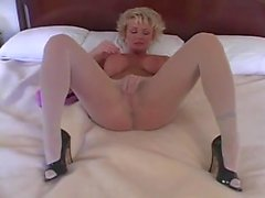 Sweet blonde April Johnson in white pantyhose housewife.!!!