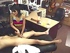 Petite Asian babe gives handjob