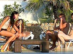 blowjob brunette group sex